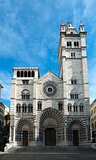 the romanic Cathedral of Genoa, Italy