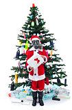 Sad santa with gas mask - environmental concept