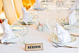 beautifully set table is reserved for guests of the restaurant