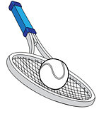 Tennis racket with a ball