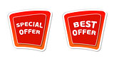 special and best offer in red banners