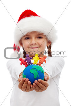 One world of happy people at christmas concept
