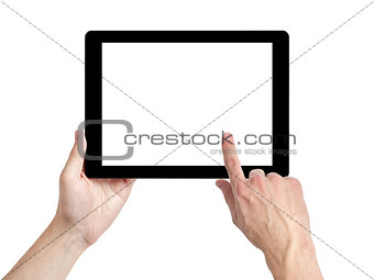 adult man hands using tablet pc with white screen