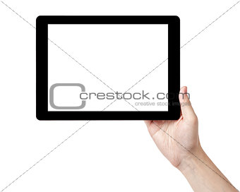 adult man hands holding tablet pc with white screen