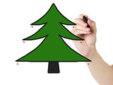 adult man hand draw a christmas tree