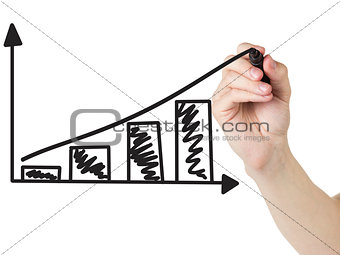 adult man hand draw a graph with positive dynamics