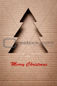 postcard with paper christmas tree