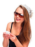 Teenage Girl with Sunglasses on Mobile Phone