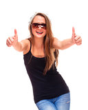 Teenage Girl with Sunglasses showing Thumbs up