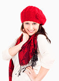Young Woman in Red Cap and Scarf Smiling