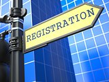 Registration. Yellow Roadsign.