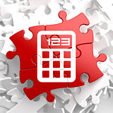 Calculator Icon on Red Puzzle.