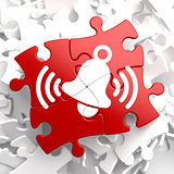 Ringing White Bell Icon on Red Puzzle.