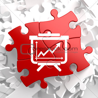 Flipchart Icon on Red Puzzle.