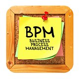 BPM. Yellow Sticker on Bulletin.