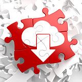 Cloud with Arrow Icon on Red Puzzle.