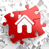 Home Icon on Red Puzzle.
