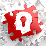 Psychological Concept on Red Puzzle.