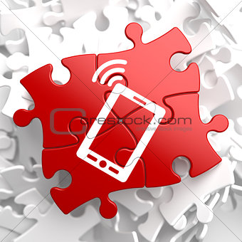 Smartphone Icon on Red Puzzle.