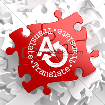 Translating Concept on Red Puzzle.