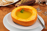 Butternut squash soup and turkey