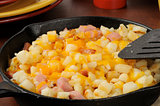 Hash browns with ham and cheese