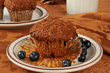 Bran muffin with wild blueberries