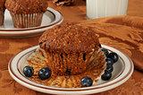 Bran muffin with wild blueberries