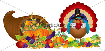 Cornucopia with Bountiful Harvest and Pilgrim Turkey