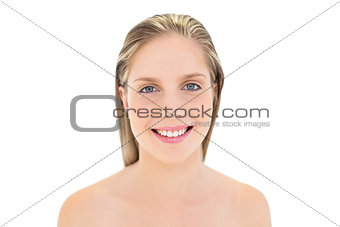 Young fresh blonde woman posing looking at camera