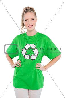 Smiling blonde activist wearing recycling tshirt posing