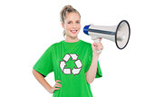 Happy environmental activist holding megaphone