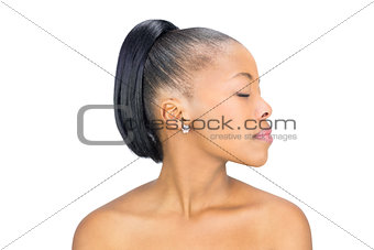 Attractive black woman looking away