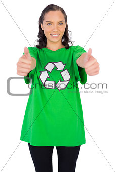 Women wearing green recycling tshirt giving thumbs up