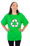 Pretty woman wearing green recycling tshirt