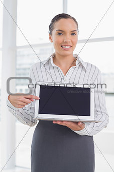 Attractive businesswoman showing laptop screen and pointing at it