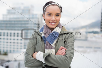 Attractive woman crossing her arms