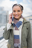 Stylish woman talking on phone