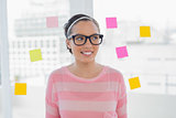 Woman in glasses in creative office