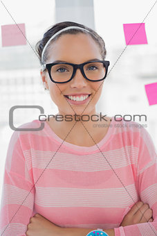 Portrait of smiling creative woman in her office