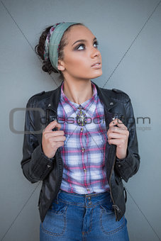 Beautiful woman with hairband posing