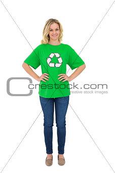 Smiling blonde environmental activist posing