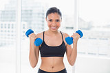 Motivated dark haired model in sportswear exercising with dumbbells