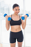 Fit dark haired model in sportswear exercising with dumbbells