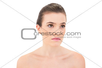 Serious woman looking away