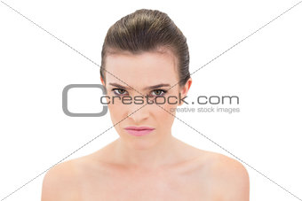 Serious natural brown haired model looking at camera