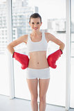 Content fit brown haired model in sportswear wearing boxing gloves