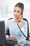 Calm brunette businesswoman phoning