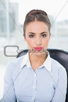 Calm brunette businesswoman sitting