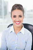 Smiling brunette businesswoman sitting